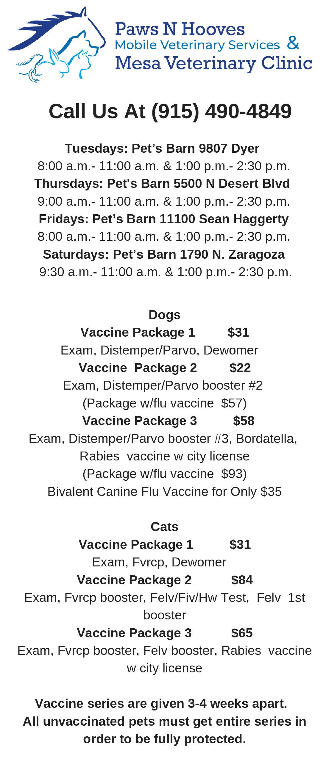 mobile location \u0026 mobile pricing mesa veterinary clinic \u0026 paws n